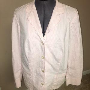 Ralph Lauren Seersucker Button Up Blazer 1X